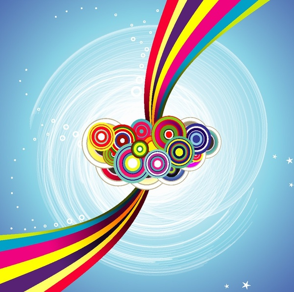 sky rainbow background colorful circles and curves ornament