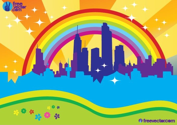 city background building rainbow icons colorful decor