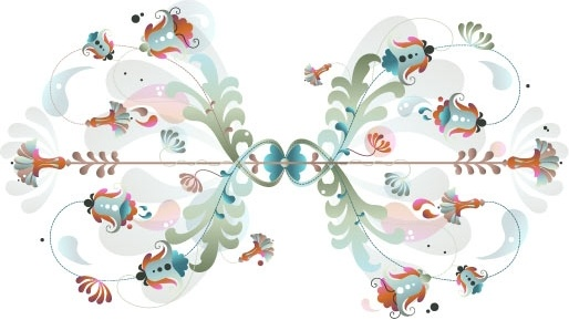 seamless floral background classical symmetric design style