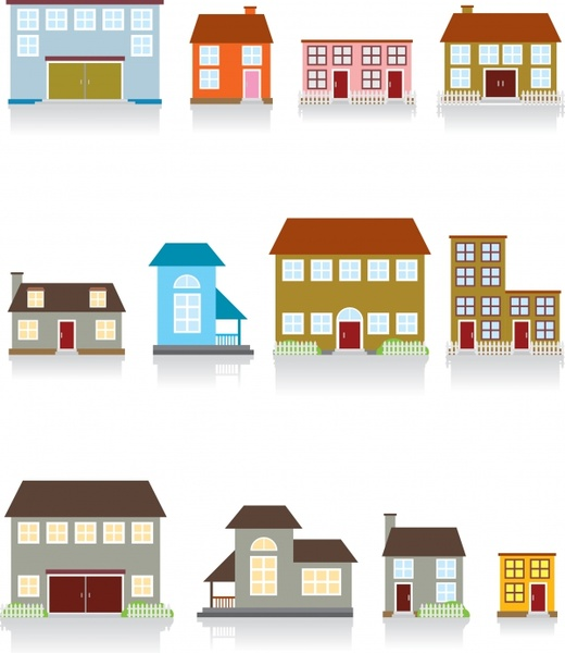 building icons facade design colored flat ornament