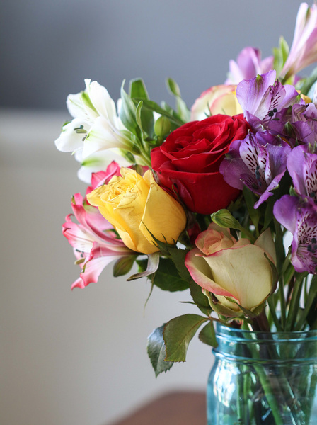 Smiles And Sunshine Bouquet Of Flowers With Red Yellow And White