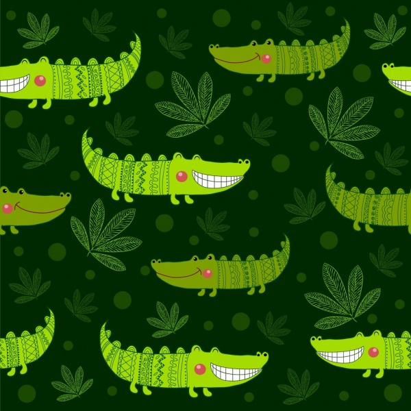 smiling crocodile background green repeating decoration