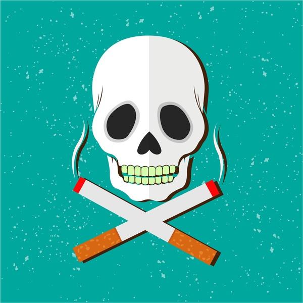 smoking danger warning banner with skull illustration