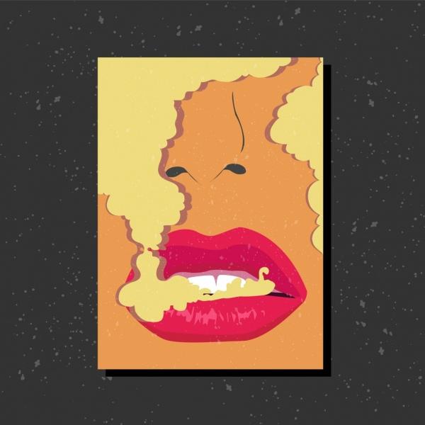 smoking warning banner woman lips closeup smoke ornament