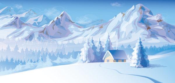 snow mountain scenery vector