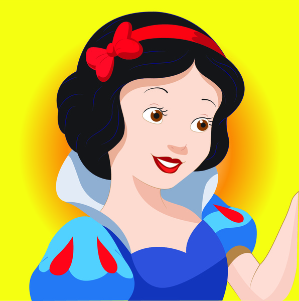 snow white cartoon character free vector in adobe illustrator ai