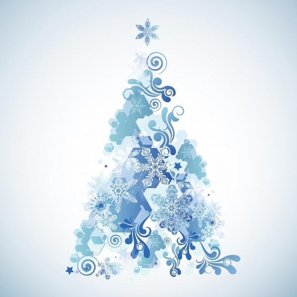 xmas background fir tree icon blue snowflakes decor