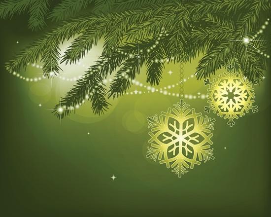 christmas background fir tree snowflakes sparkling green decor