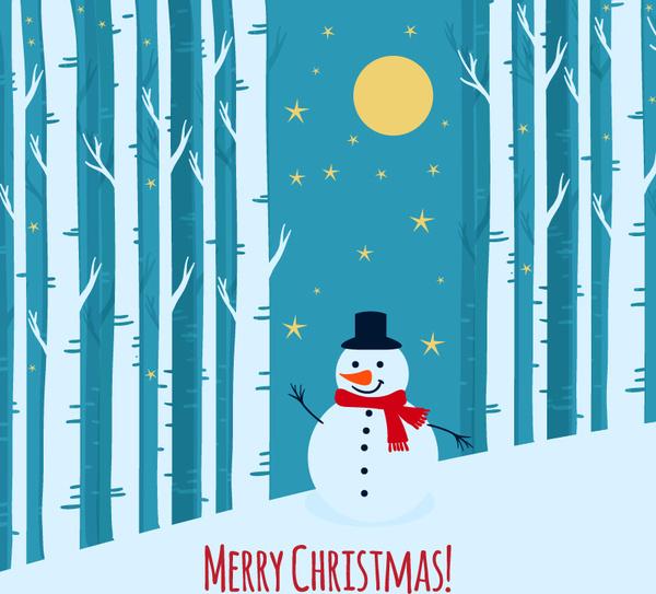 snowman on winter forest background