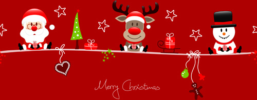 Red Christmas Background.Snowman Santa With Reindeer Red Christmas Background Free