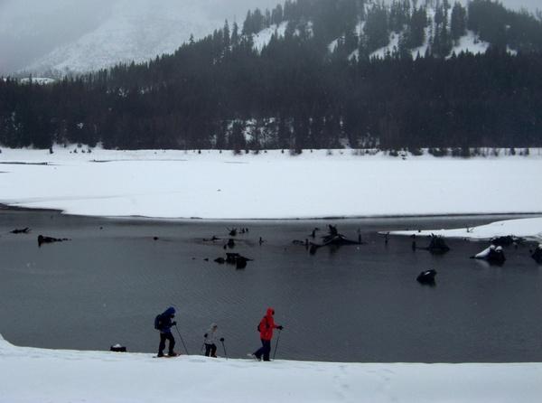 snowshoeing at lake easton