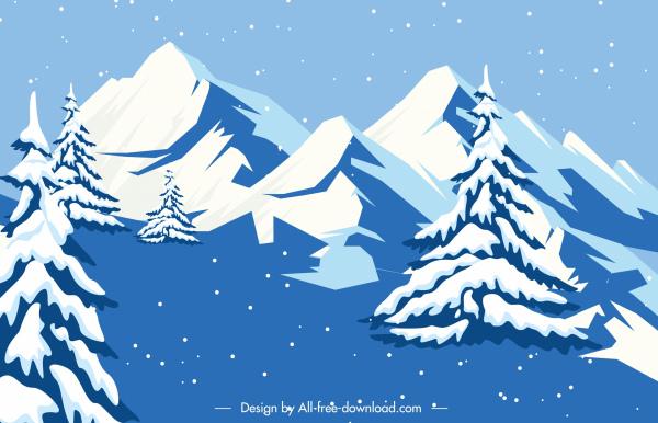 snowy mountain scene background white blue decor