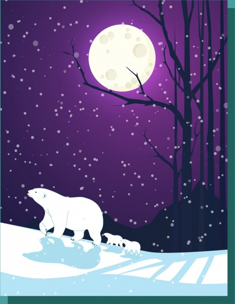 snowy winter background white bears bright moon decoration