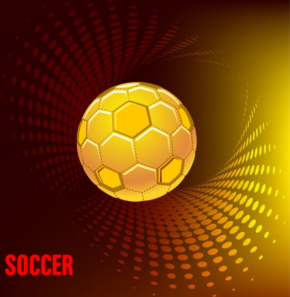 soccer advertising banner 3d swirling yellow ball icon