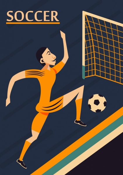soccer background male player goal icons classical design
