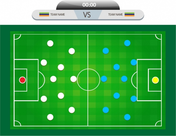 Soccer Background Match Diagram Design Colored Style Free Vector In