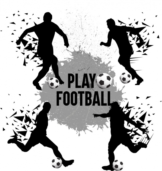 soccer background players icons splash silhouette design