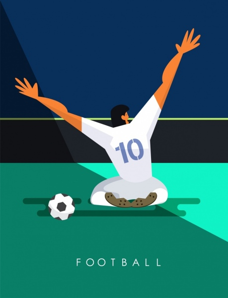 soccer banner cheering player icon colored cartoon