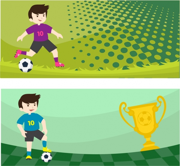 soccer banner player ball cup icons ornament