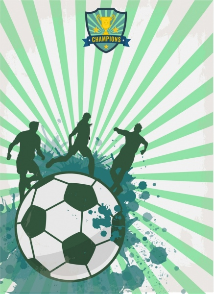 soccer banner silhouette grunge style ball players decoration