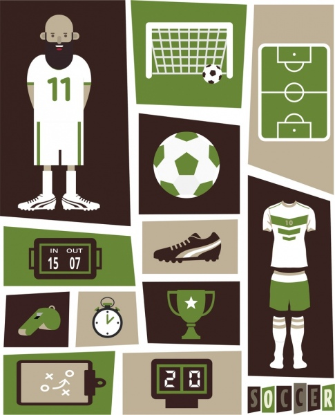soccer design elements dark green design various symbols