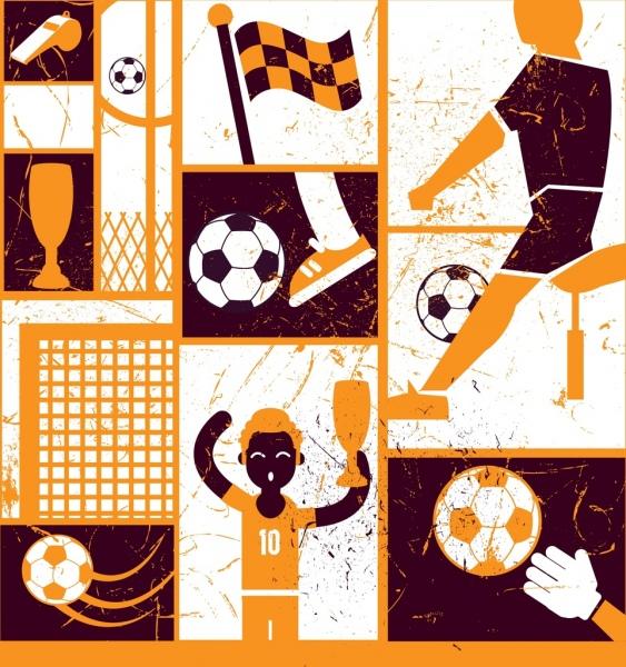 soccer design elements dark retro design