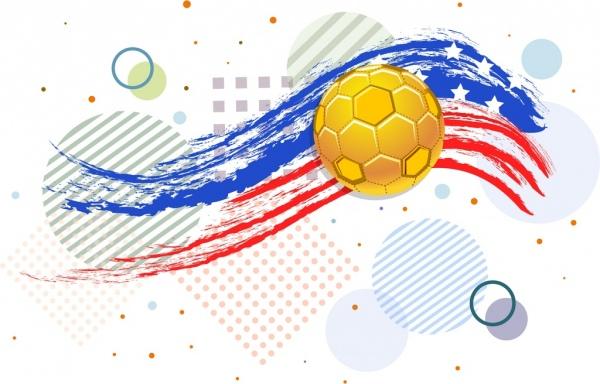 soccer event banner grunge usa flag ball icons