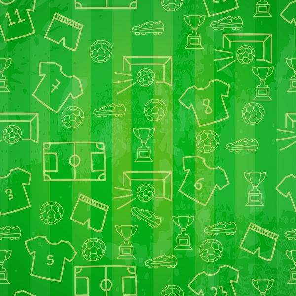 soccer green background repeating symbols sketch decoration