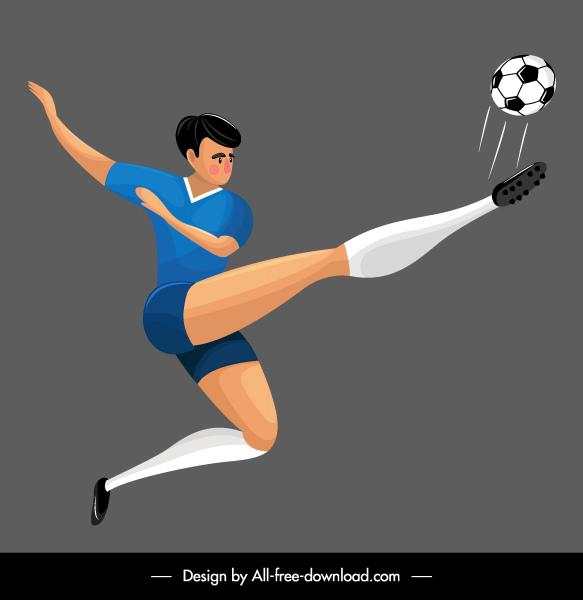 soccer player icon kicking gesture cartoon sketch