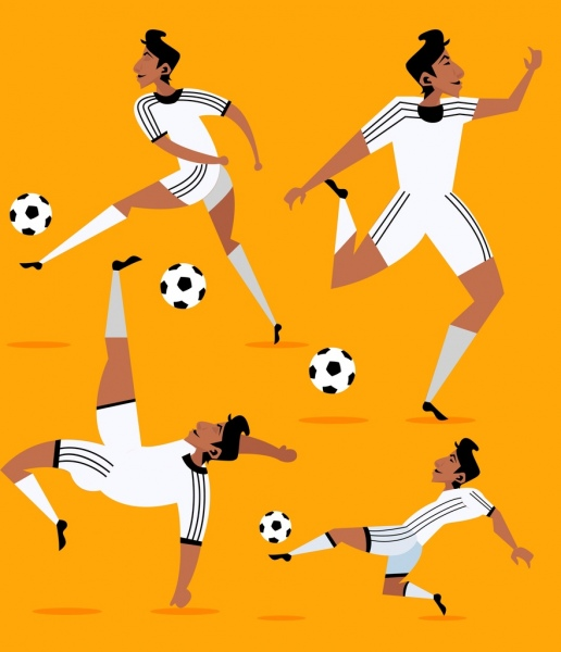 soccer player icons skillful gestures colored cartoon