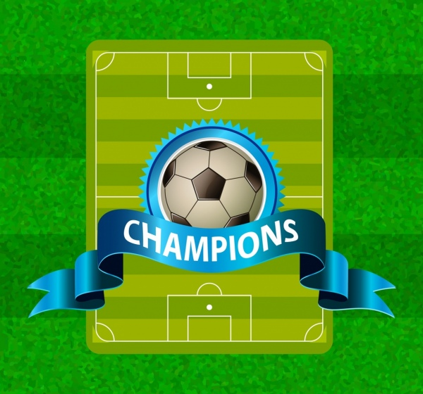 soccer poster green ground backdrop ball 3d ribbon