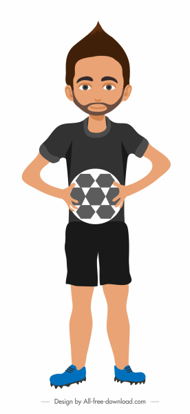 soccer referee icon colored cartoon character design