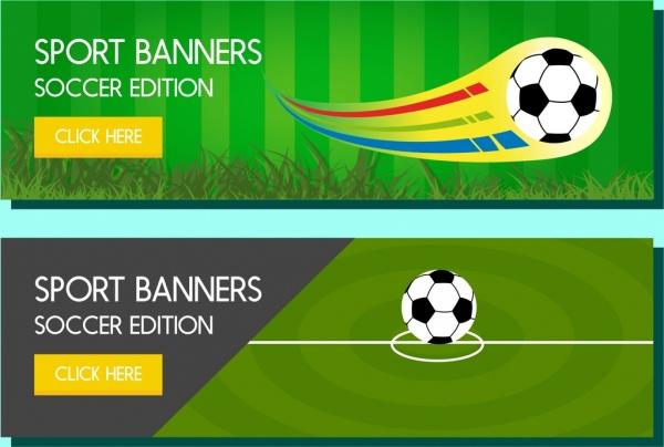 soccer webtype banner sets green field ball decoration