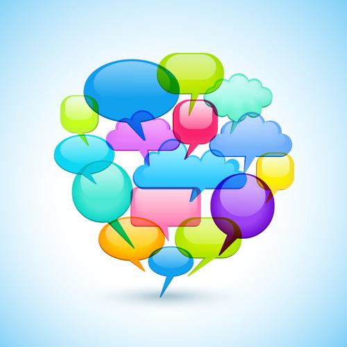social icons and speech bubbles vector