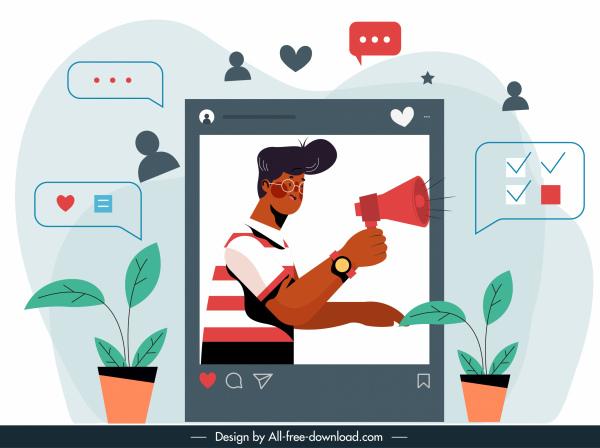 social media background communication elements flat sketch