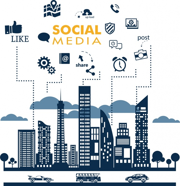 social media design elements on cityscape background