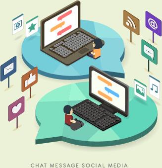 social media flat concept template vector