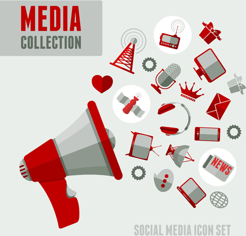 social media icons red style vector