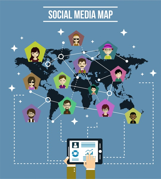 social media infographic design human icons on map