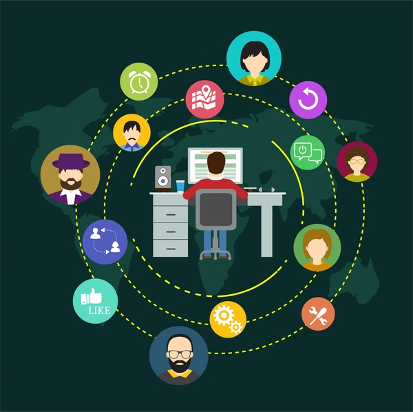 Social Networking Design People And Symbols In Circle Free Vector In