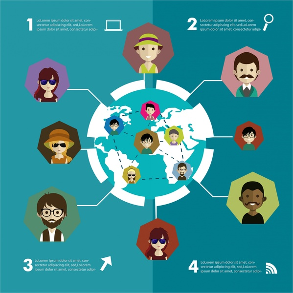 social networking infographic with human icons and earth