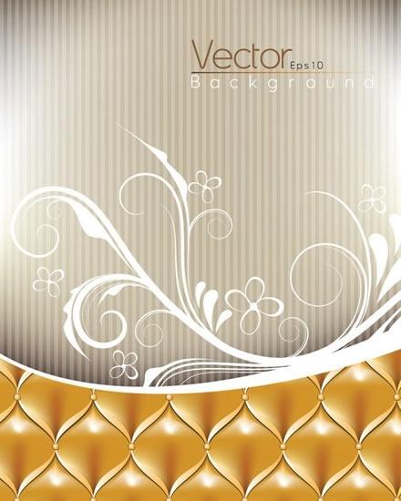 decorative background template luxury decor floral sketch