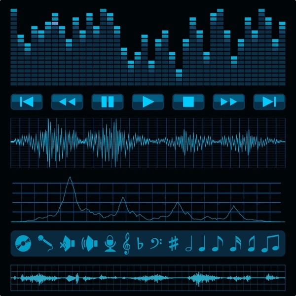 Sonic frequency band music vector Free vector in