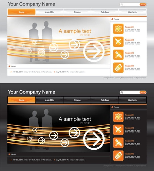 sophisticated and practical web site template 03 vector