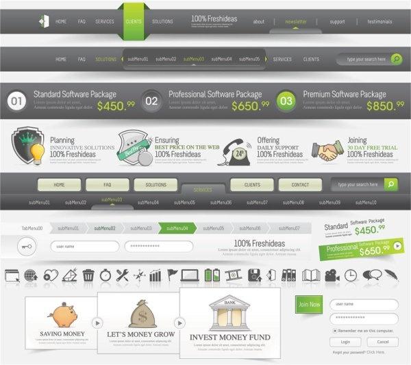 sophisticated web design elements 05 vector