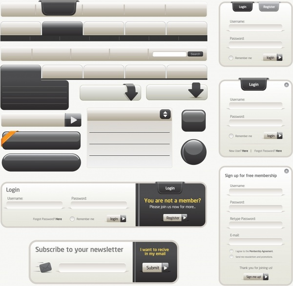 webpage navigation templates elegant modern black white design
