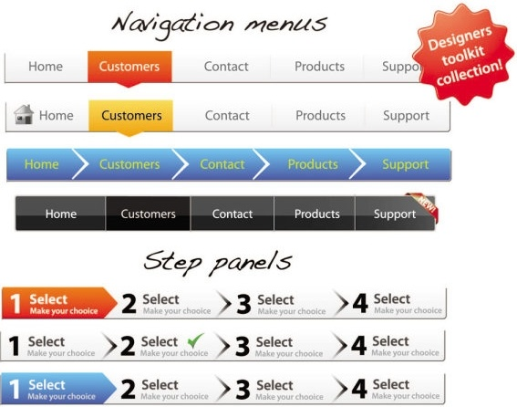 sophisticated web page navigation bar vector