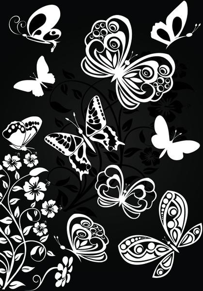 sorts of butterflies clip art vector