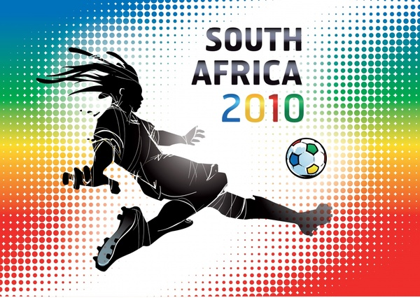 2010 world cup banner player silhouette kicking gesture