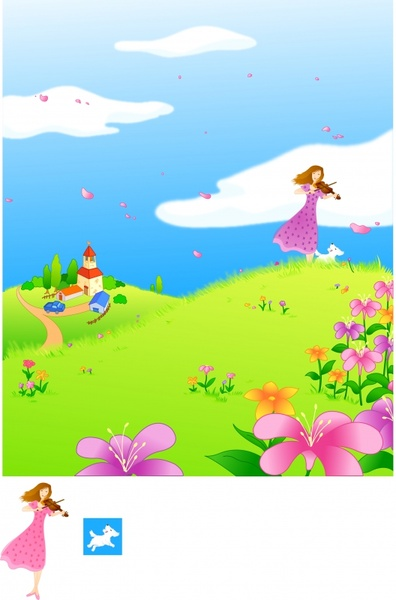 spring background violinist flowers icons cartoon design